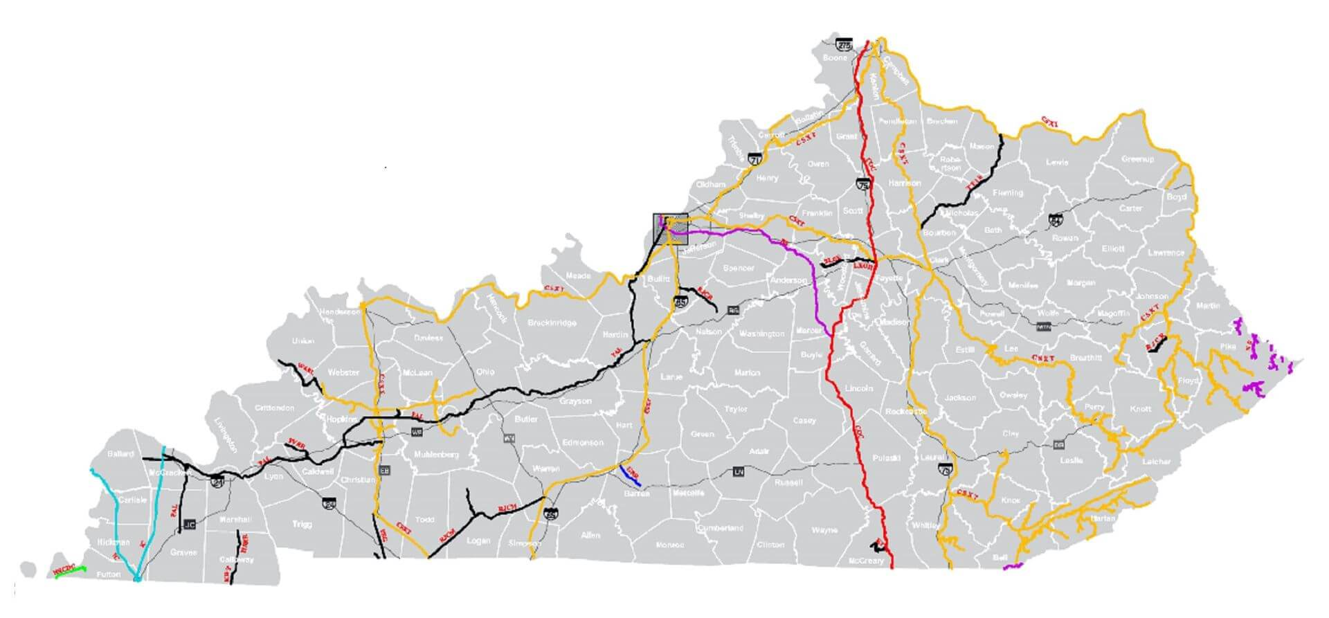 Kentucky Rail Map