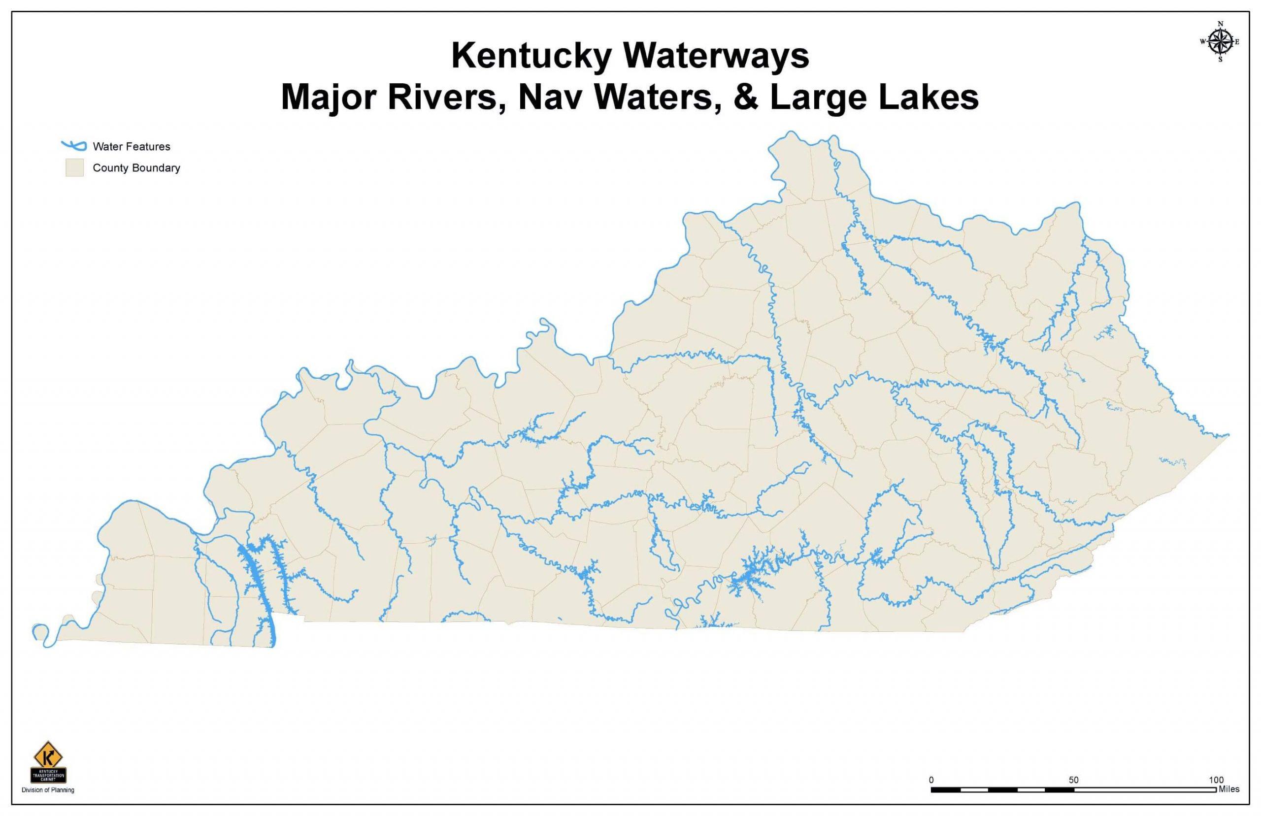 Map of Kentucky's Major Waterways